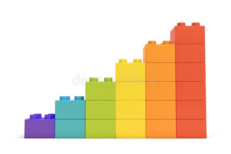 rappresentazione 3d delle scale variopinte fatte di molti mattoni su fondo bianco royalty illustrazione gratis