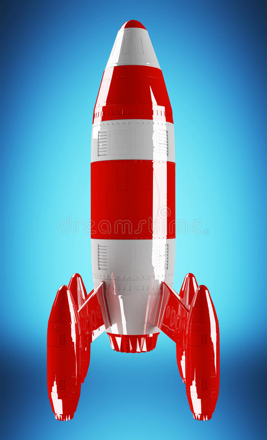 Rappresentazione 3D di lancio di razzo rosso e bianco royalty illustrazione gratis