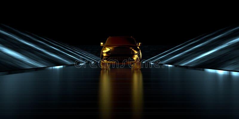 rappresentazione 3d di un'automobile dorata dentro una strada futuristica con buio royalty illustrazione gratis
