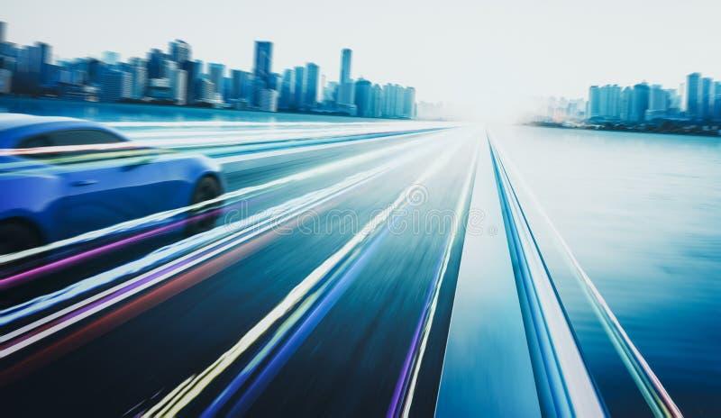 rappresentazione 3D di un'automobile sportiva blu senza marca con effetto ed il mosso della luce illustrazione vettoriale