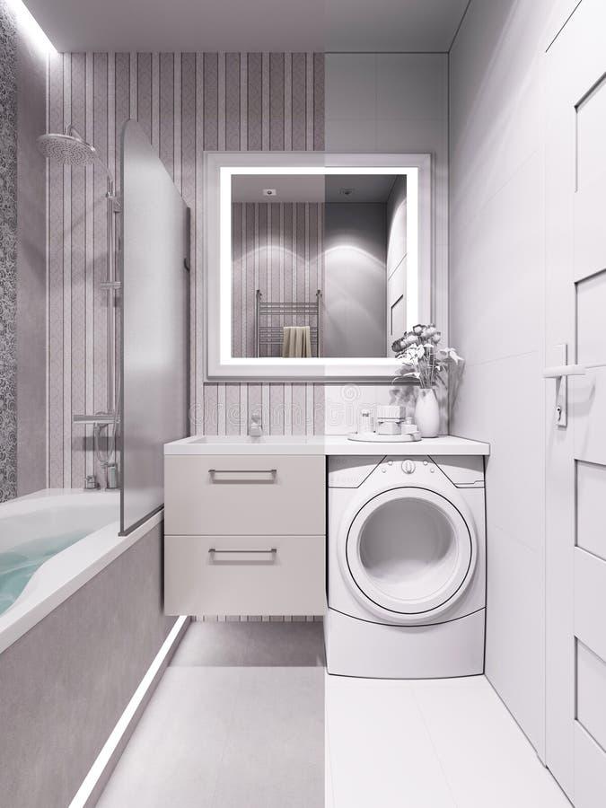 Rappresentazione 3d di un bagno in uno stile classico for Stile classico moderno