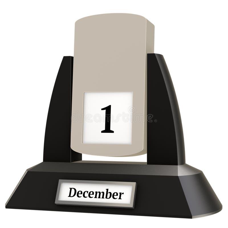 rappresentazione 3D di un calendario d'annata di vibrazione che mostra la data del 1° dicembre royalty illustrazione gratis