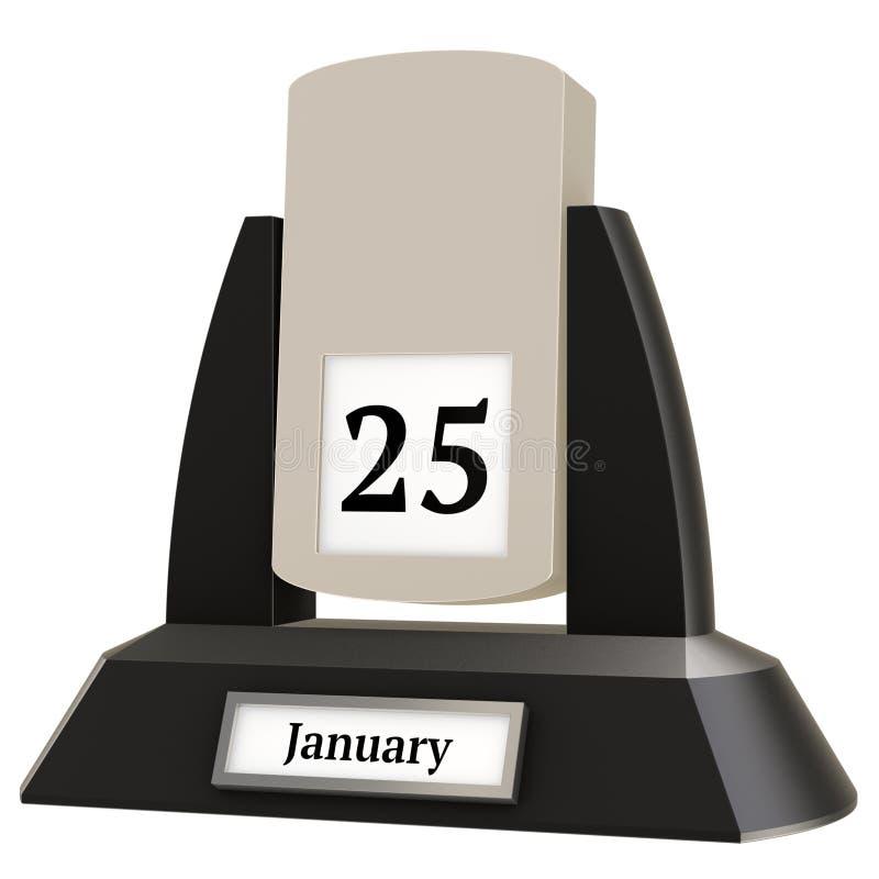 rappresentazione 3D di un calendario d'annata di vibrazione che mostra la data del 25 gennaio illustrazione vettoriale