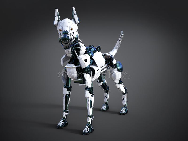 rappresentazione 3D di un cane futuristico del robot illustrazione di stock