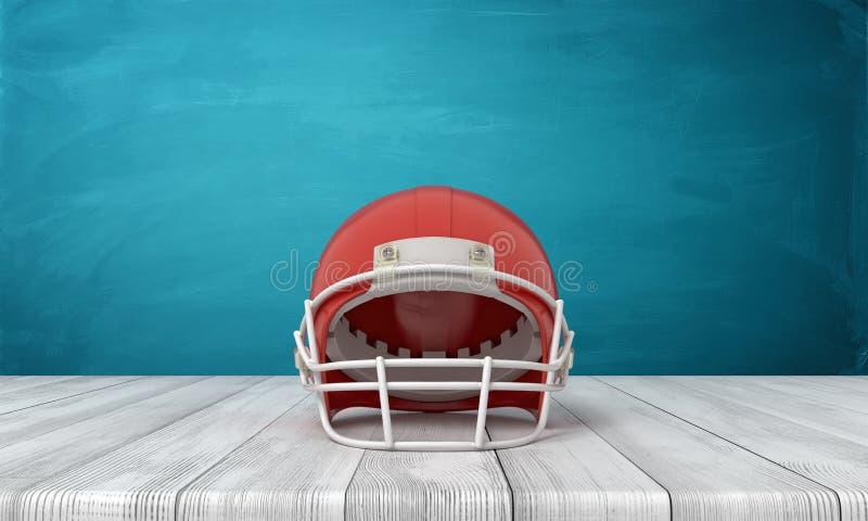 rappresentazione 3d di un casco di football americano che si trova su un fondo di legno dello scrittorio con una parete blu fotografia stock