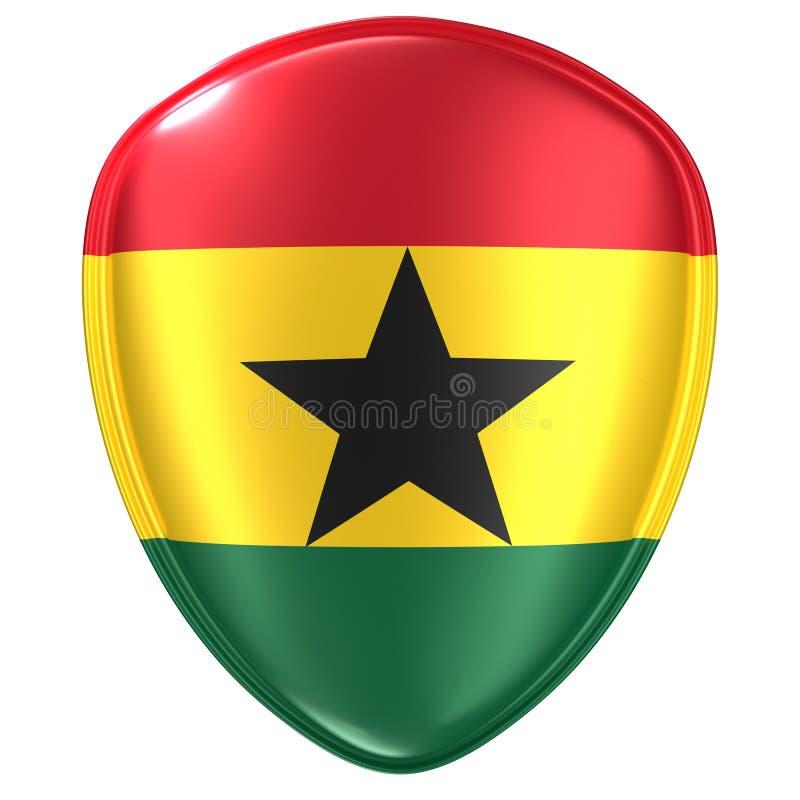 rappresentazione 3d di un'icona della bandiera della Repubblica del Ghana illustrazione vettoriale