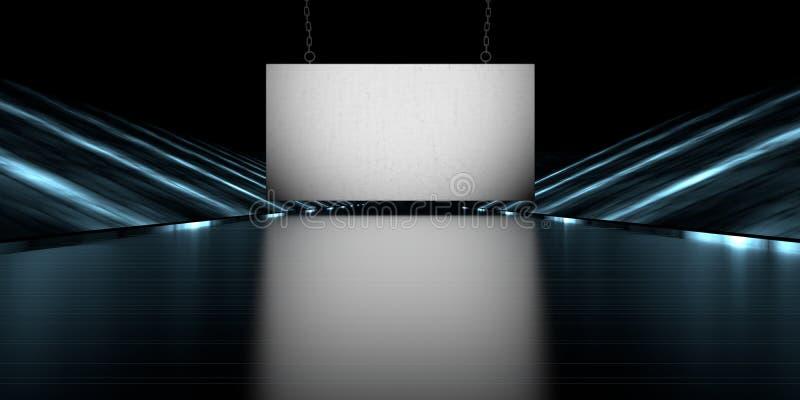 rappresentazione 3d di un'insegna in bianco in una strada futuristica della fase con la a illustrazione di stock