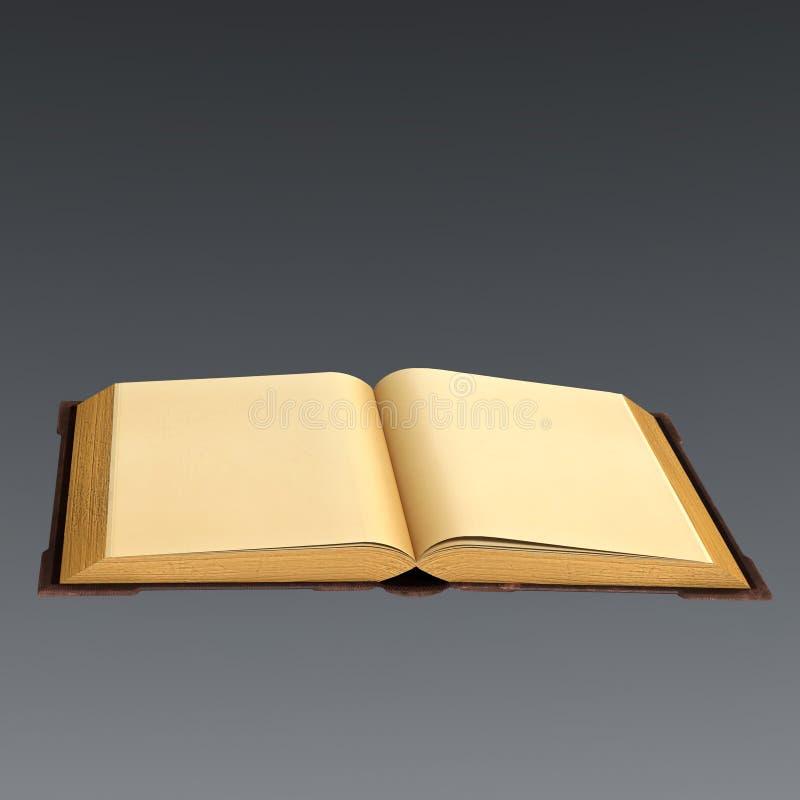 rappresentazione 3D di un libro vecchio aperto con le pagine in bianco illustrazione di stock