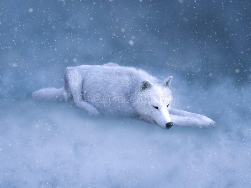 rappresentazione 3D di un lupo bianco maestoso che dorme nella neve royalty illustrazione gratis