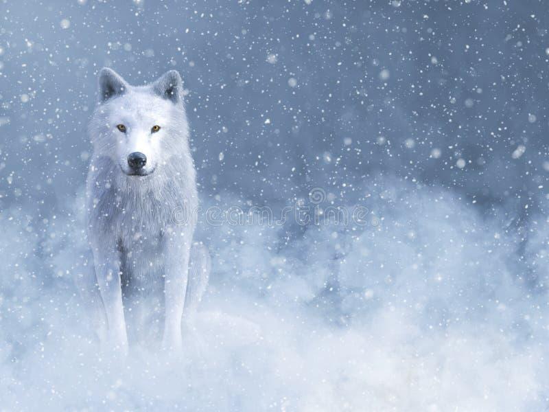 rappresentazione 3D di un lupo bianco maestoso in neve illustrazione vettoriale