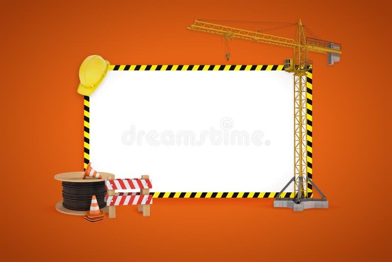 rappresentazione 3d di un modello in bianco per testo con una gru di costruzione, casco, avvolgicavo intorno  illustrazione vettoriale