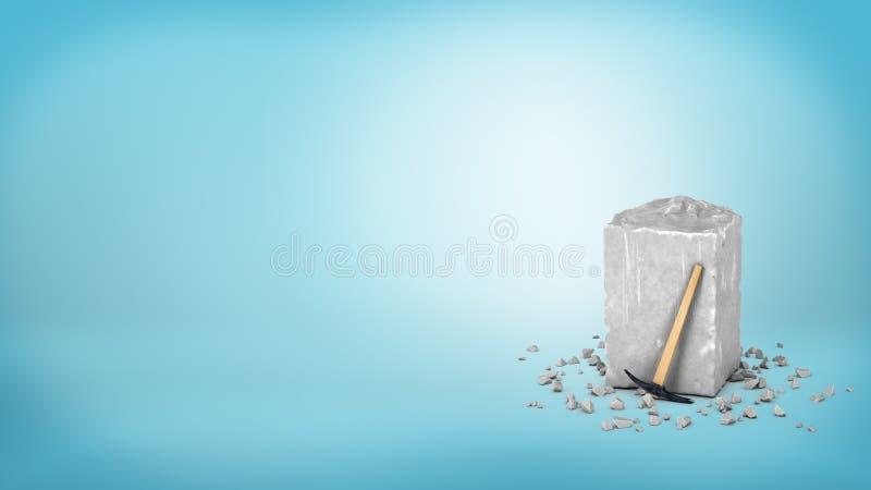 rappresentazione 3d di un pezzo grigio grande di pietra grigia ruvida con un piccolo martello che se lo appoggia sul fondo blu fotografia stock libera da diritti