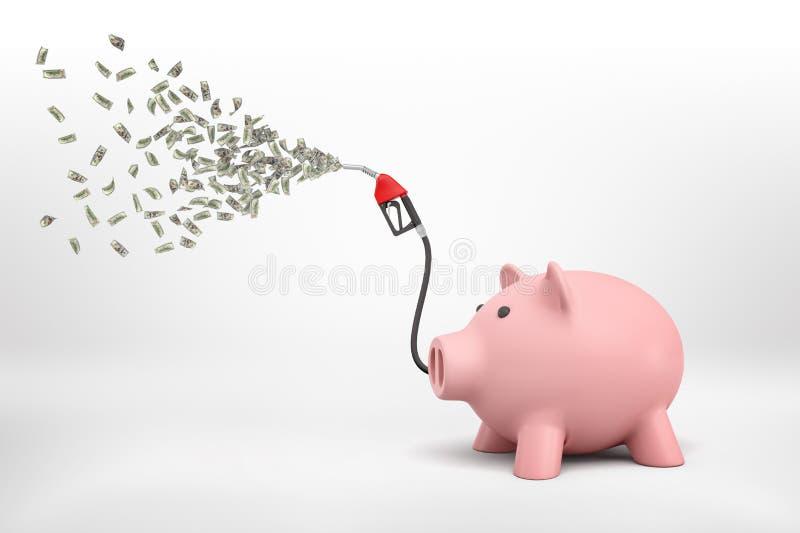 rappresentazione 3d di un porcellino salvadanaio con un tubo flessibile da una colonna di riempimento del combustibile che spruzz illustrazione di stock