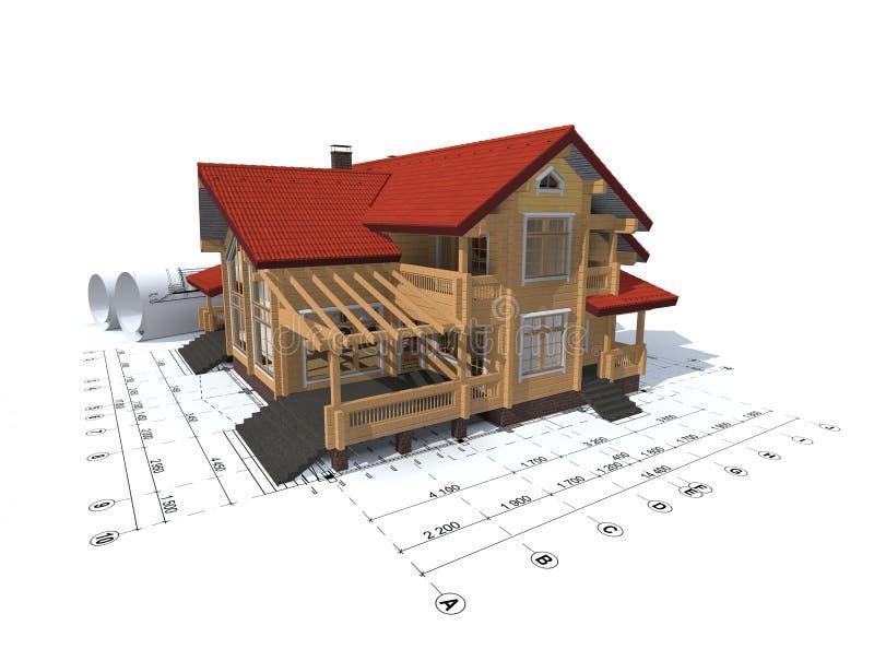 Download Rappresentazione 3D Di Un Progetto Della Casa Illustrazione Di  Stock   Illustrazione Di Stampa,