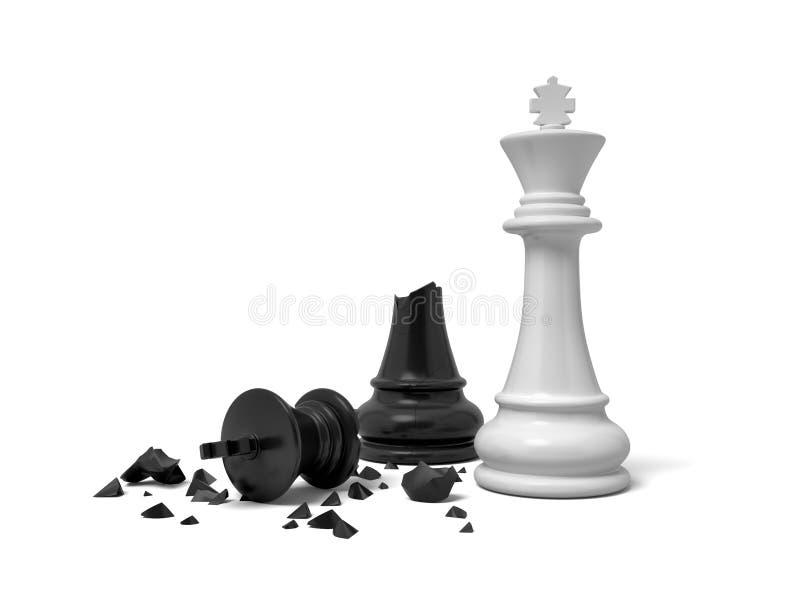 rappresentazione 3d di un re bianco di scacchi che sta vicino ad una figura nera metà irrotta di re illustrazione vettoriale