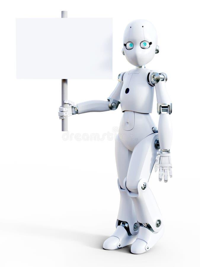 rappresentazione 3D di un robot bianco del fumetto che tiene segno in bianco illustrazione di stock