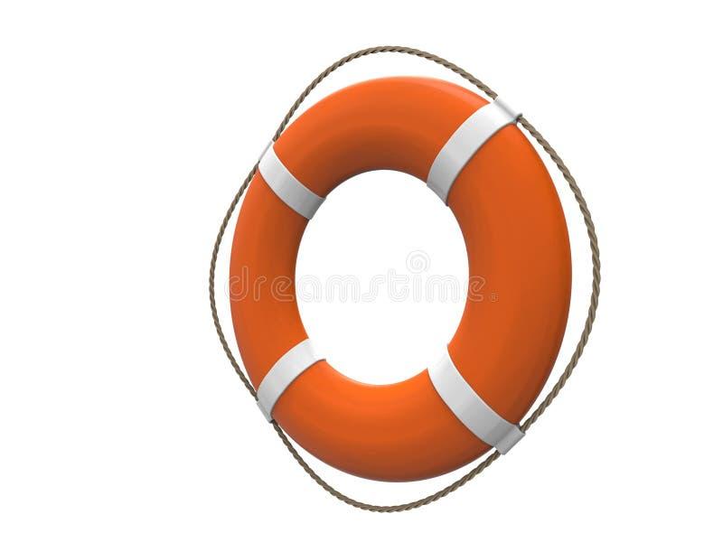 rappresentazione 3D di un salvagente arancio isolato su fondo bianco illustrazione vettoriale