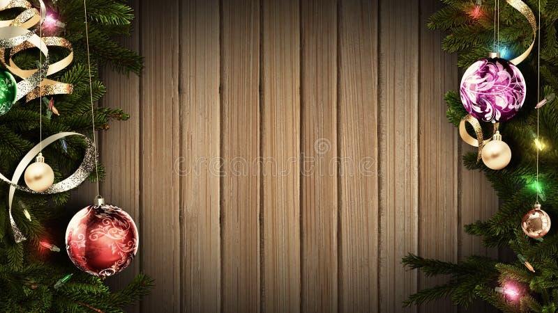 rappresentazione 3D di un telaio festivo luminoso di Natale su una vecchia tavola di legno rustica per creare un'atmosfera stupef illustrazione di stock
