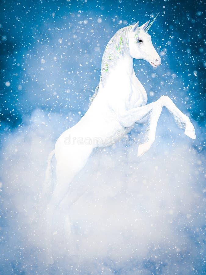rappresentazione 3D di un unicorno bianco magico in neve illustrazione vettoriale