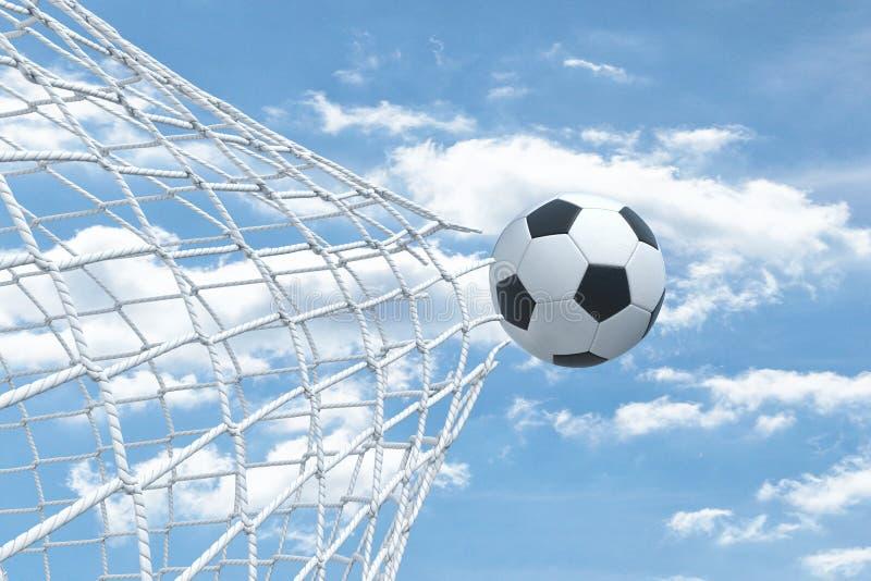 rappresentazione 3d di un volo della palla di calcio a partire dentro dalla rete del portone e dello strappo  illustrazione di stock