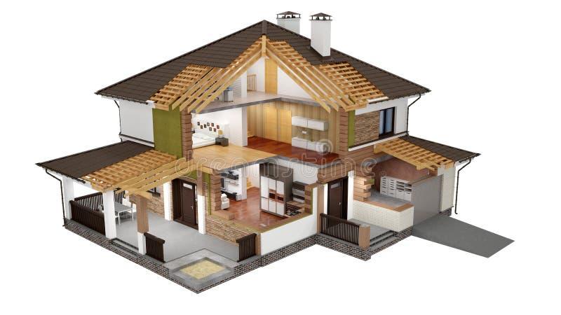 Rappresentazione 3d di una casa moderna illustrazione di for Download gratuito di piani casa moderna