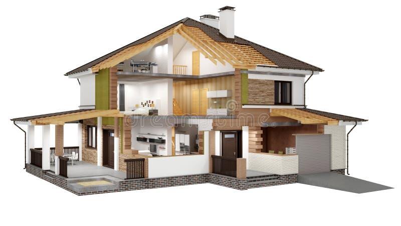 Rappresentazione 3d di una casa moderna illustrazione di for Modello di casa moderna