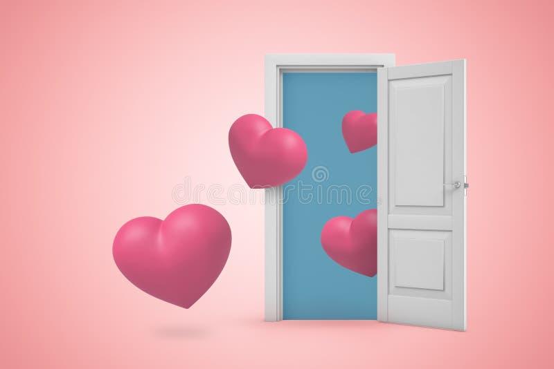 rappresentazione 3d di una entrata aperta bianca con i piccoli cuori rosa su fondo rosa-chiaro illustrazione di stock