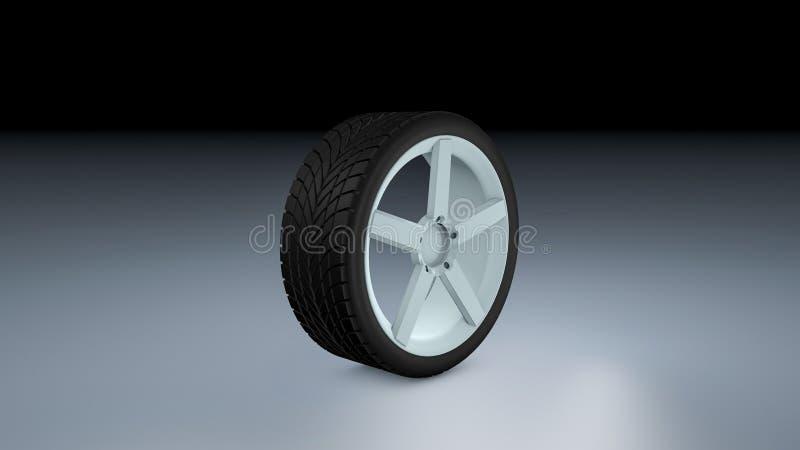 rappresentazione 3d di una gomma di automobile singola su una superficie opaca illustrazione vettoriale