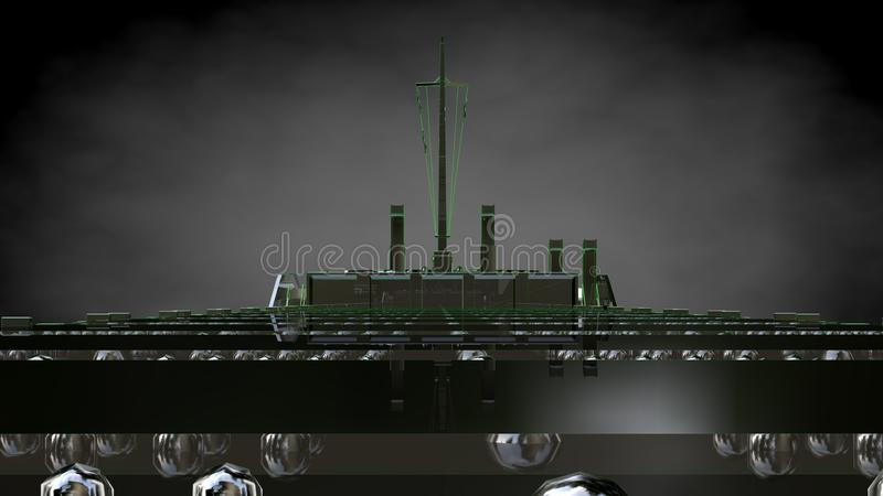 rappresentazione 3d di una nave da carico enorme riflettente con verde descritto royalty illustrazione gratis