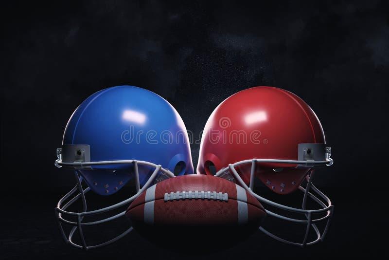 rappresentazione 3d di una palla di cuoio che sta fra due caschi di football americano con le guardie di fronte fotografia stock libera da diritti