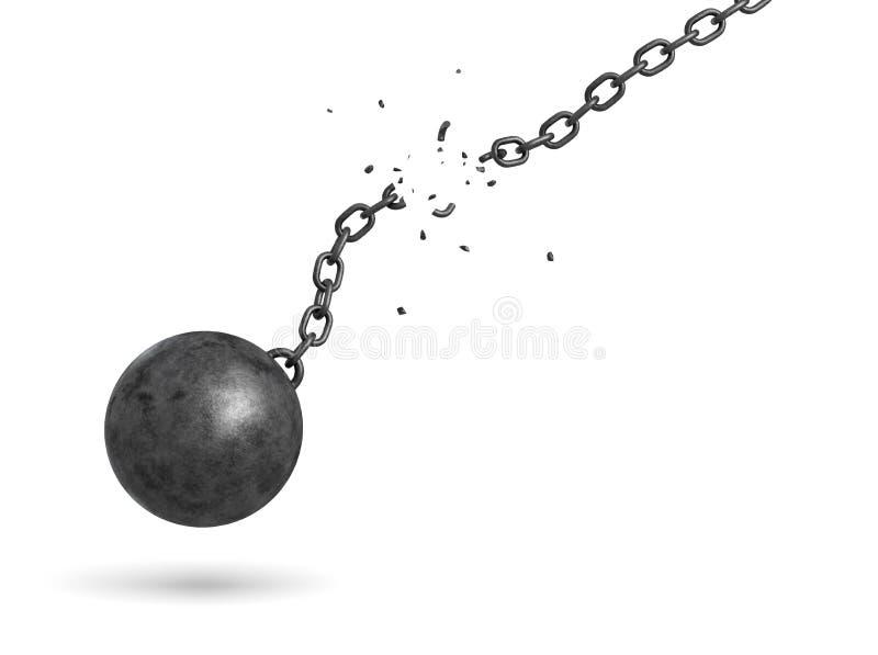 rappresentazione 3d di una palla nera del ferro che oscilla e che cade da una catena rotta illustrazione vettoriale