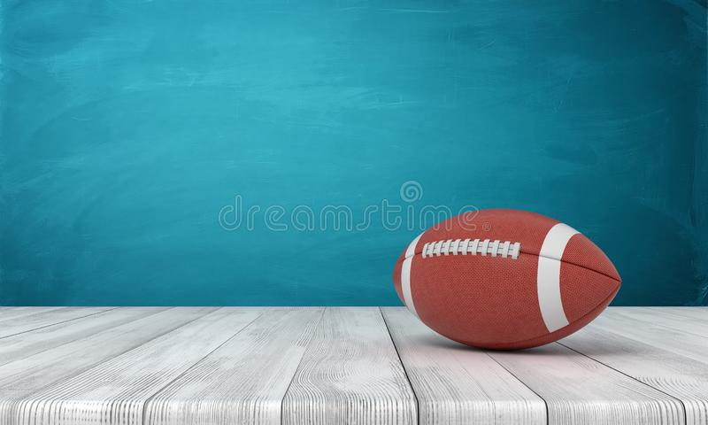rappresentazione 3d di una palla per football americano che si trova su uno scrittorio di legno su un fondo blu illustrazione vettoriale
