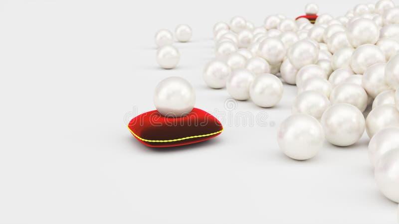 rappresentazione 3d di una perla su un cuscino rosso molle del velluto con un colpo dell'oro Bella perla, gioielli costosi per le illustrazione vettoriale