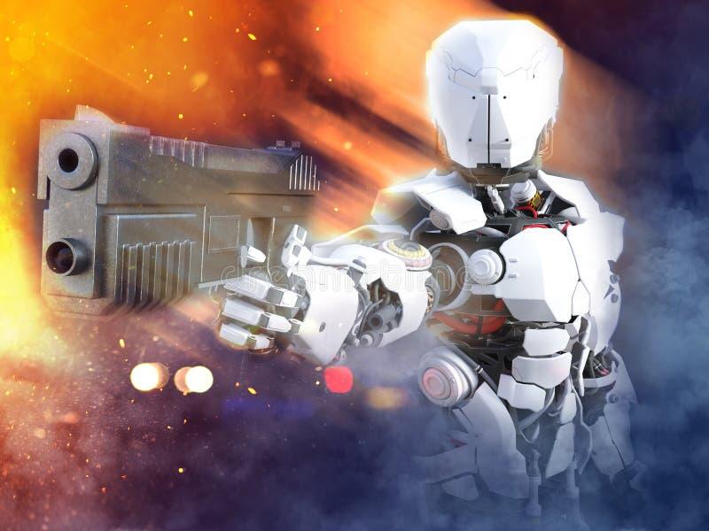 rappresentazione 3D di una pistola futuristica della tenuta del poliziotto dell'eroe del robot royalty illustrazione gratis
