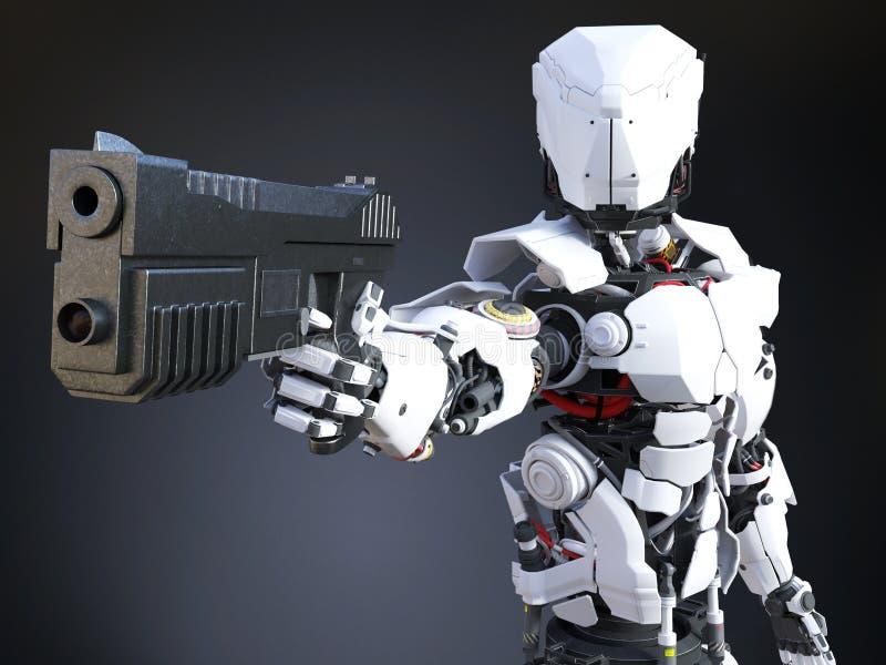 rappresentazione 3D di una pistola futuristica della tenuta del poliziotto del robot illustrazione di stock