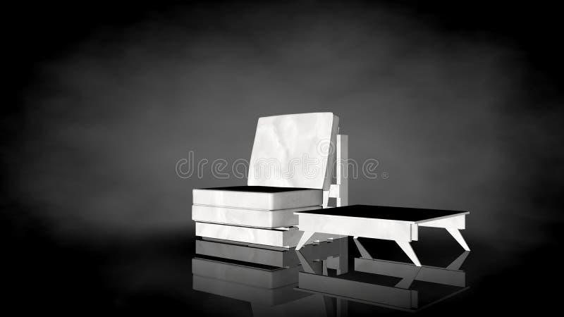 rappresentazione 3d di una sedia bianca su un fondo nero illustrazione vettoriale