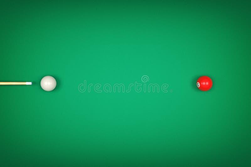 rappresentazione 3d di una stecca da biliardo del biliardo che indica una palla bianca pronta a colpire una palla rossa royalty illustrazione gratis