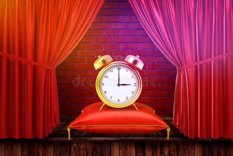 rappresentazione 3d di una sveglia su un cuscino con le tende rosse ed il fondo rosso del muro di mattoni illustrazione di stock