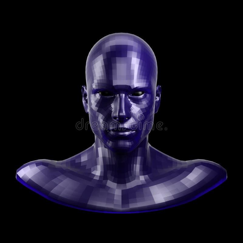 rappresentazione 3d Fronte blu sfaccettato del robot con gli occhi neri che sembrano anteriori sulla macchina fotografica illustrazione di stock