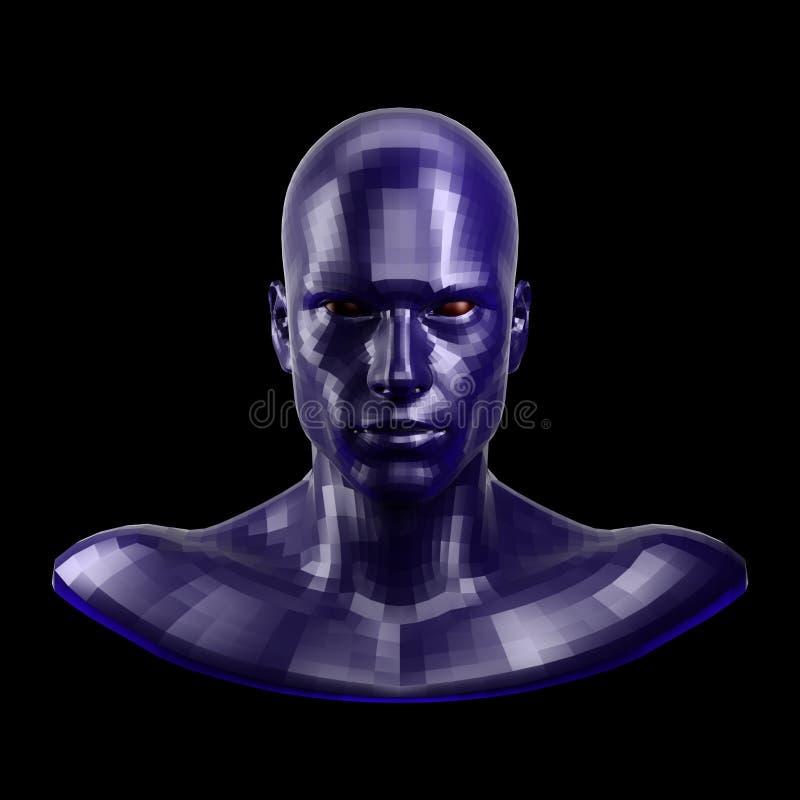 rappresentazione 3d Fronte blu sfaccettato del robot con l'occhi rossi che sembra anteriore sulla macchina fotografica royalty illustrazione gratis