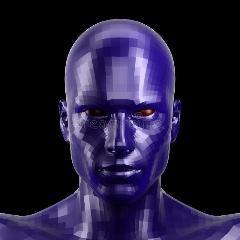 rappresentazione 3d Fronte blu sfaccettato del robot con l'occhi rossi che sembra anteriore sulla macchina fotografica illustrazione vettoriale