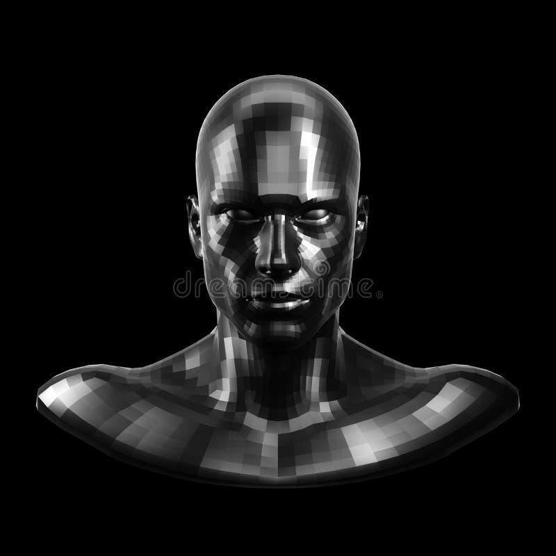 rappresentazione 3d Fronte nero sfaccettato del robot con gli occhi neri che sembrano anteriori sulla macchina fotografica illustrazione di stock