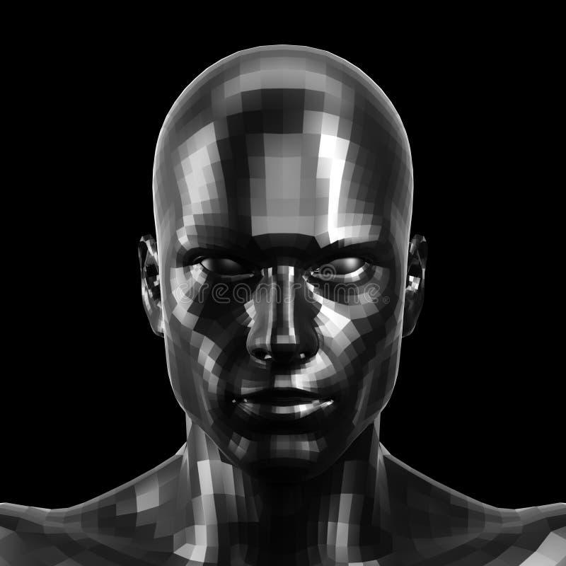 rappresentazione 3d Fronte nero sfaccettato del robot con gli occhi neri che sembrano anteriori sulla macchina fotografica illustrazione vettoriale