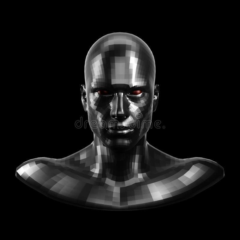 rappresentazione 3d Fronte nero sfaccettato del robot con l'occhi rossi che sembra anteriore sulla macchina fotografica royalty illustrazione gratis
