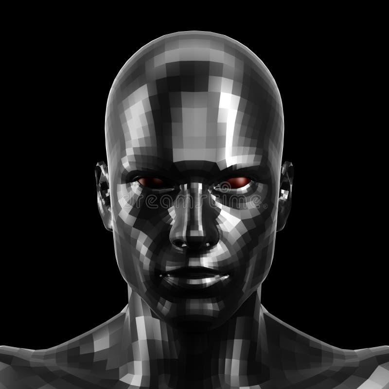 rappresentazione 3d Fronte nero sfaccettato del robot con l'occhi rossi che sembra anteriore sulla macchina fotografica illustrazione di stock