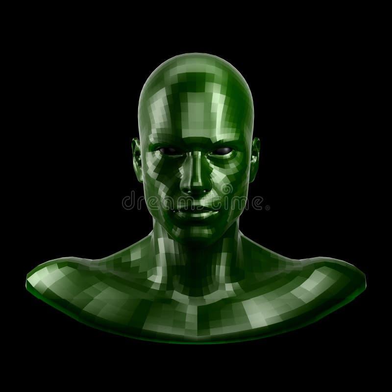 rappresentazione 3d Fronte verde sfaccettato del robot con gli occhi neri che sembrano anteriori sulla macchina fotografica royalty illustrazione gratis