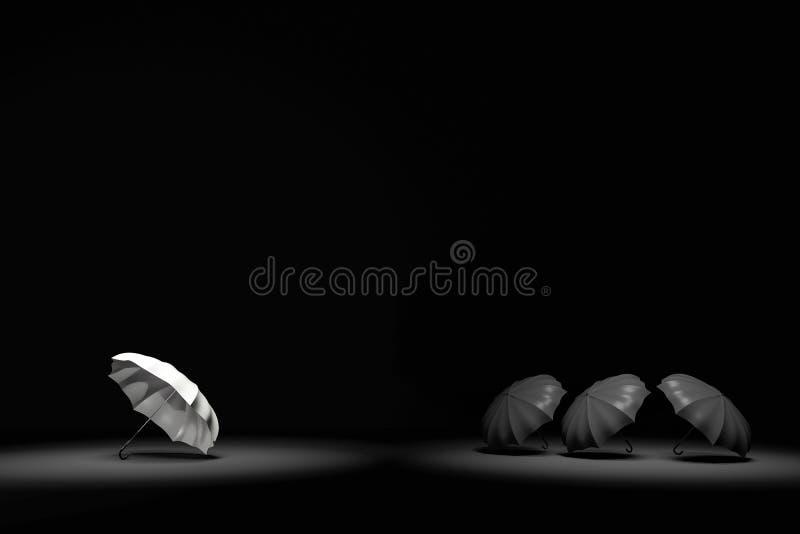 rappresentazione 3D: illustrazione del riflettore che splende all'ombrello bianco ed a tre ombrelli neri nella stanza molto scura illustrazione di stock