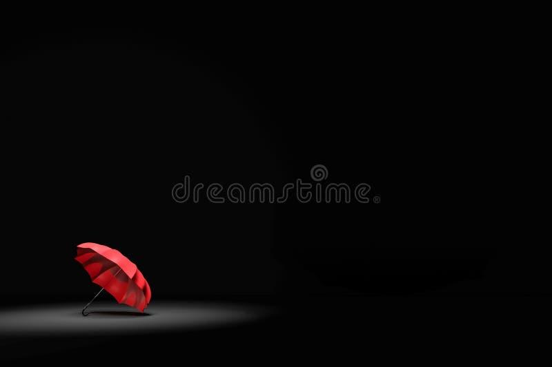rappresentazione 3D: illustrazione del riflettore che splende all'ombrello rosso nella stanza molto scura Affare, concetto del ca illustrazione di stock