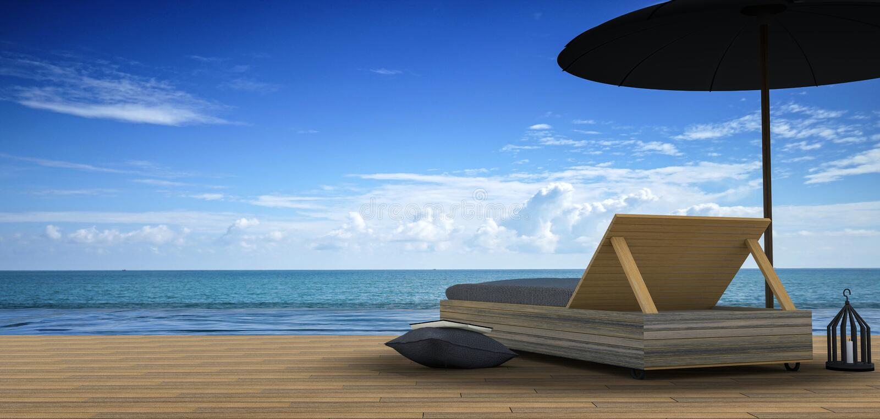 rappresentazione 3D: illustrazione del salotto della spiaggia - vista del mare e di Sundeck per la vacanza e l'estate sul pavimen illustrazione vettoriale
