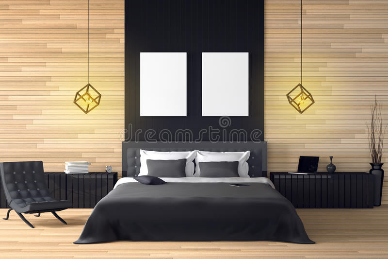 rappresentazione 3D: illustrazione dell'interno di legno moderno della casa parte della stanza del letto della casa Camera da let illustrazione vettoriale
